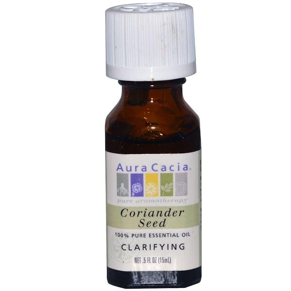 Aura Cacia, 100%-ное чистое эфирное масло семян кориандра, очищающее, 0,5 унции (15 мл)