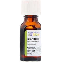 Aura Cacia, 純精油,葡萄柚味,0.5 液量盎司(15 毫升)