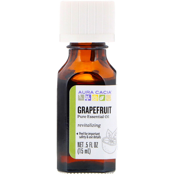 Aura Cacia, Pure Essential Oil, Grapefruit, .5 fl oz (15 ml)