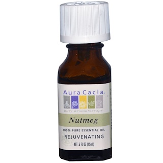Aura Cacia, 100% Pure Essential Oil, Nutmeg, .5 fl oz (15 ml)