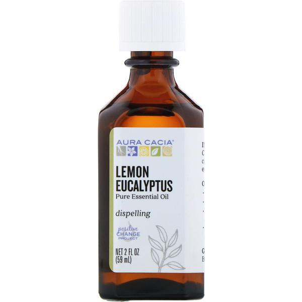 Aura Cacia, Pure Essential Oil, Lemon Eucalyptus, 2 fl oz (59 ml) (Discontinued Item)