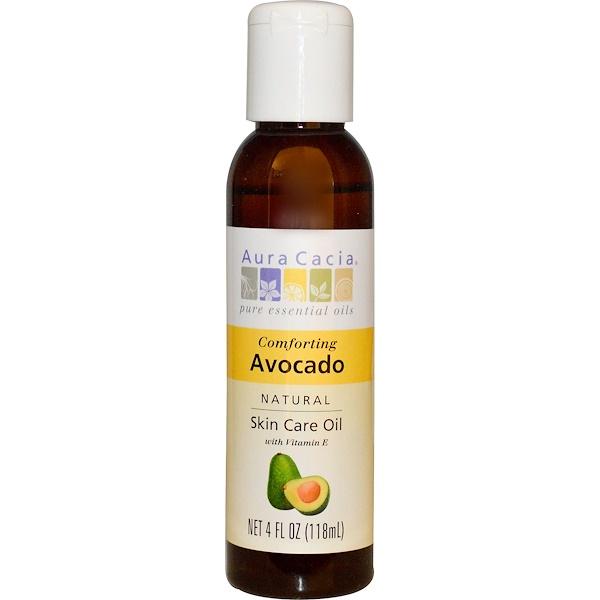 Aura Cacia, 天然護膚油,舒適牛油果,4液體盎司(118毫升)