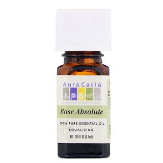 Aura Cacia, 100% 순수 에센셜 오일, 절대 장미 .125 fl oz (3.7mL)