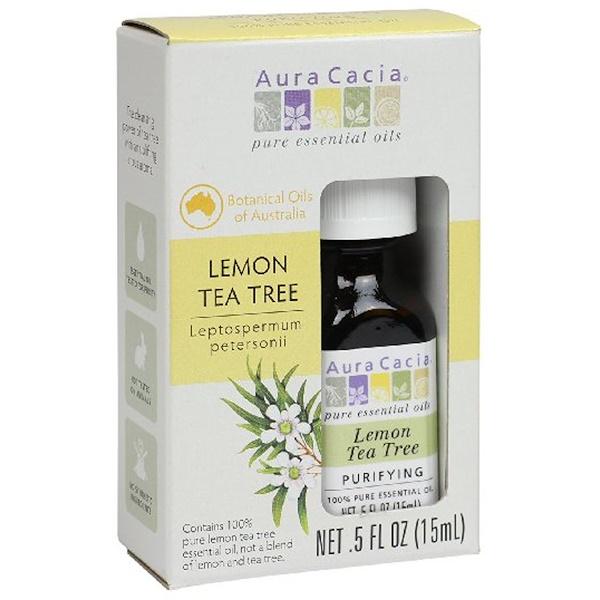Aura Cacia, ピュアエッセンシャルオイル, レモンティーツリー, 0.5液量オンス (15 ml) (Discontinued Item)