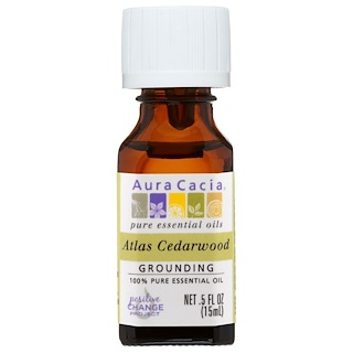 Aura Cacia, 100% Pure Essential Oil, Atlas Cedarwood, .5 fl oz (15 ml)