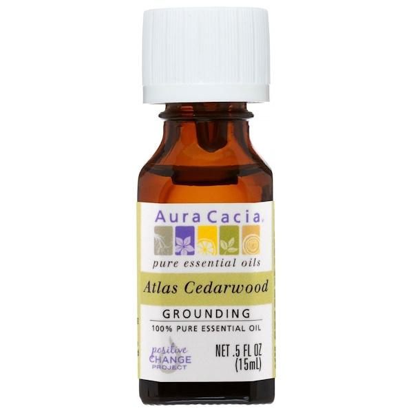 Aura Cacia, 100% 純精油,阿特拉斯雪松,0、5 液盎司(15 毫升)