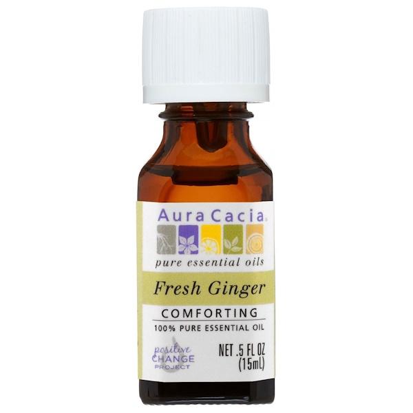 Aura Cacia, 100%純精油,鮮薑,0、5液體盎司(15毫升)