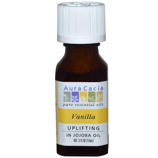 Aura Cacia, 純精油,香草,0、5液盎司(15毫升)