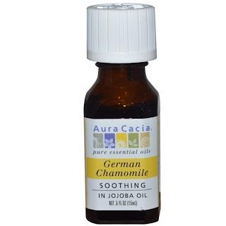 Aura Cacia, Manzanilla alemana, en aceite de jojoba.  .5 fl oz (15 ml)