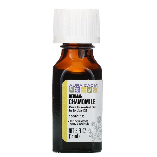 Aura Cacia, Pure Essential Oil in Jojoba Oil, German Chamomile, .5 fl oz (15 ml)