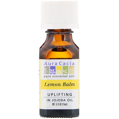 Aura Cacia, 檸檬香蜂草精油,令人精神振奮,0.5液體盎司(15毫升)