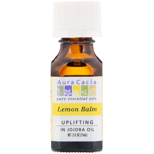 Aura Cacia, Pure Essential Oils, Lemon Balm, Uplifting, .5 fl oz (15 ml)