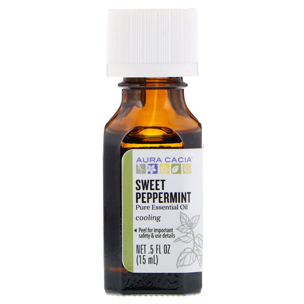 Aura Cacia, Pure Essential Oil, Sweet Peppermint, 、5 fl oz (15 ml)
