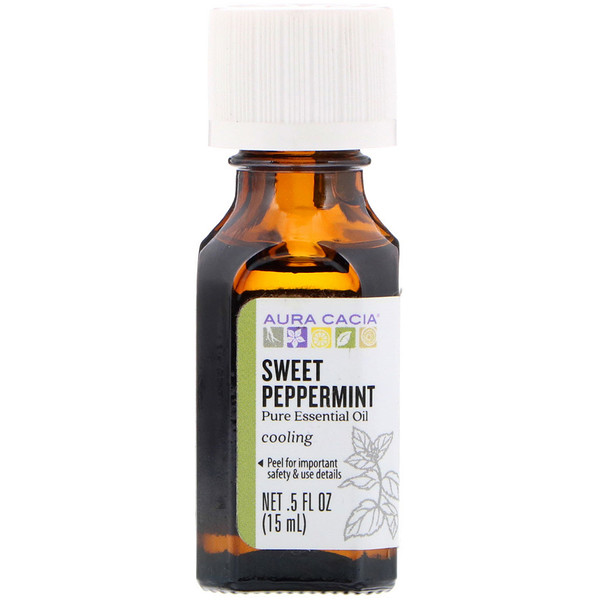 Aura Cacia, Pure Essential Oil, Sweet Peppermint, .5 fl oz (15 ml) (Discontinued Item)