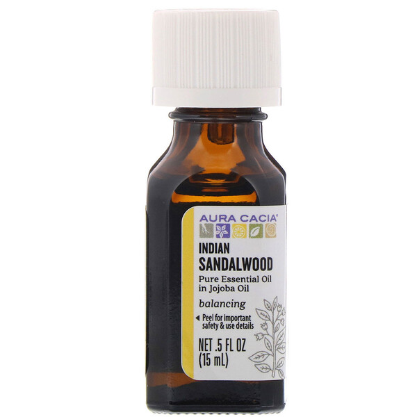 Aura Cacia, Pure Essential Oil In Jojoba Oil, Indian Sandalwood, .5 fl oz (15 ml)