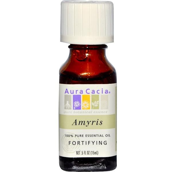 Aura Cacia, 100% Pure Essential Oil, Amyris, Fortifying, .5 fl oz (15 ml) (Discontinued Item)