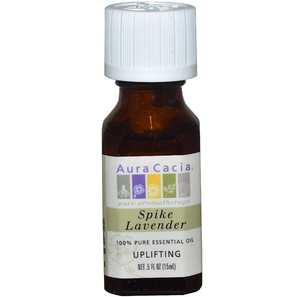 Aura Cacia, 100%純精油,穗薰衣草,0、5盎司(15毫升)