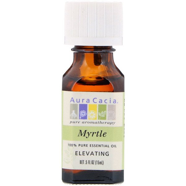 Aura Cacia, 100% Pure Essential Oil, Myrtle, Elevating, .5 fl oz (15 ml)