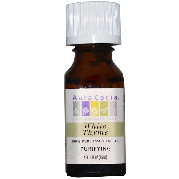 Aura Cacia, 100% Pure Essential Oil, White Thyme, Purifying, 0.5 fl oz (15 ml) (Discontinued Item)