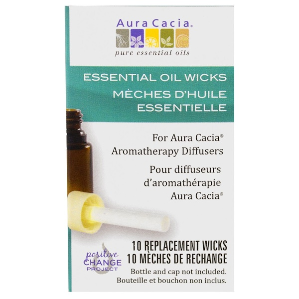 Aura Cacia, Aromatherapy Diffusers, Essential Oil Wicks, 10 Replacement Wicks (Discontinued Item)
