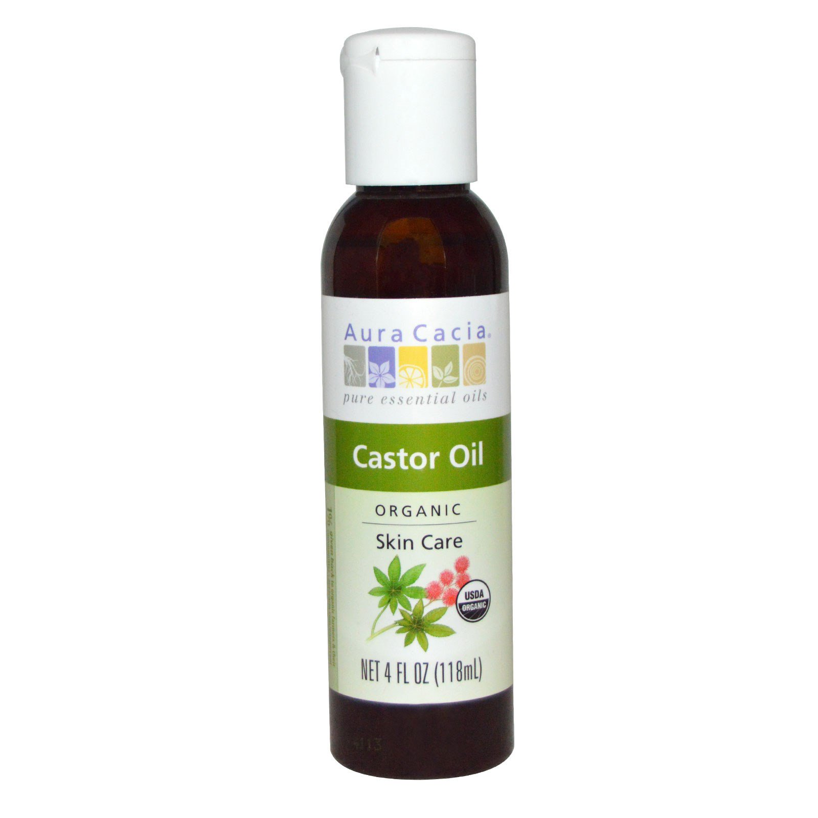 Aura Cacia, Castor Oil, Organic, Skin Care, 4 fl oz (118 ml)