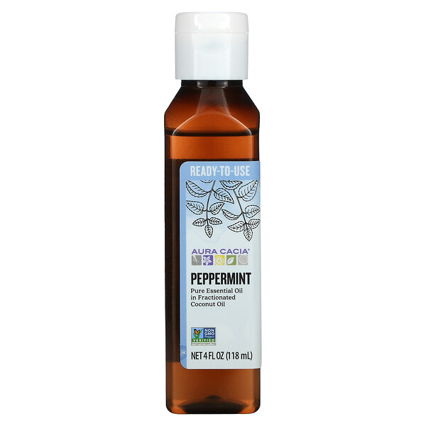Pure Essential Oil in Fractionated Coconut Oil, Peppermint, 4 fl oz (118 ml)