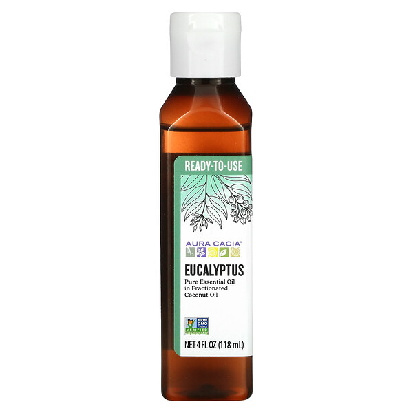 Pure Essential Oil In Fractionated Coconut Oil, Eucalyptus, 4 fl oz (118 ml)