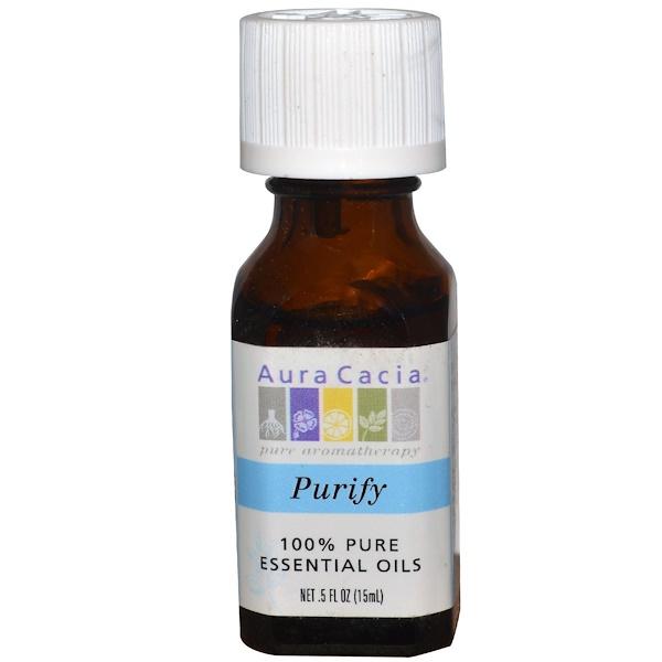 Aura Cacia, 100% Pure Essential Oils, Purify, 0.5 fl  oz (15 ml) (Discontinued Item)