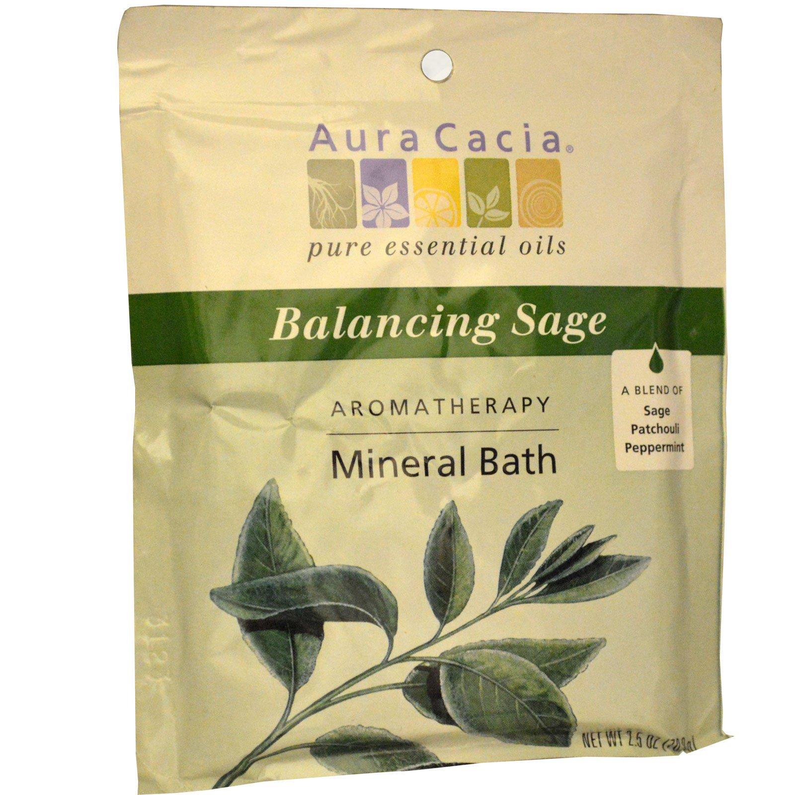 Aura Cacia, Ароматерапевтическое минеральное средство для ванны, гармонизирующий шалфей, 2,5 унции (70,9 г)