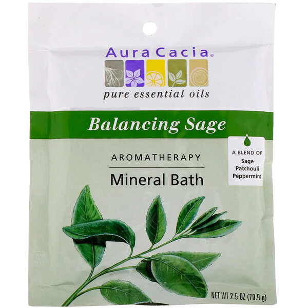 Aura Cacia, Aromatherapy Mineral Bath, Balancing Sage, 2.5 oz (70.9 g) (Discontinued Item)