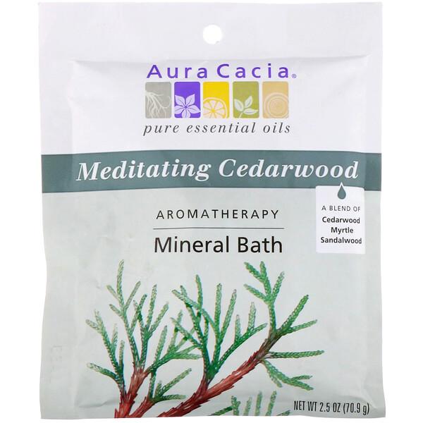 Aura Cacia, アロマテラピー・ミネラルバス、メディテーティング・シダーウッド、 2.5オンス (70.9 g)