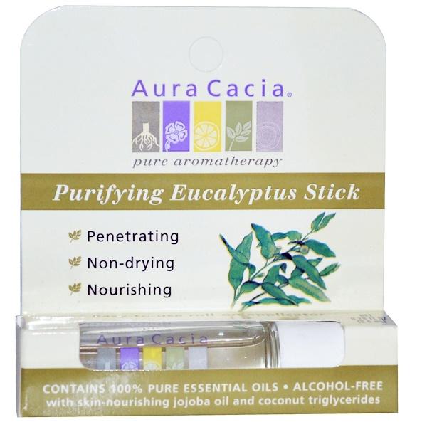 Aura Cacia, Очищающий роллер с эвкалиптом, не содержит спирта, 0,29 жидких унций (8,6 мл) (Discontinued Item)