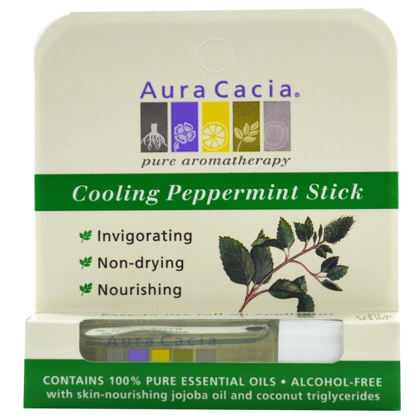 Aura Cacia, Охлаждающий роллер с мятой перечной, шариковый, не содержит спирта, 0,29 жидких унций (8,6 мл)