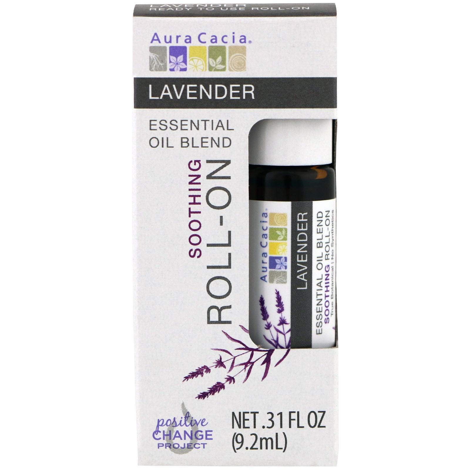 Aura Cacia, Смесь эфирного масла, смягчающий шариковый аппликатор, лаванда, 0,31 жидких унций (9,2 мл)