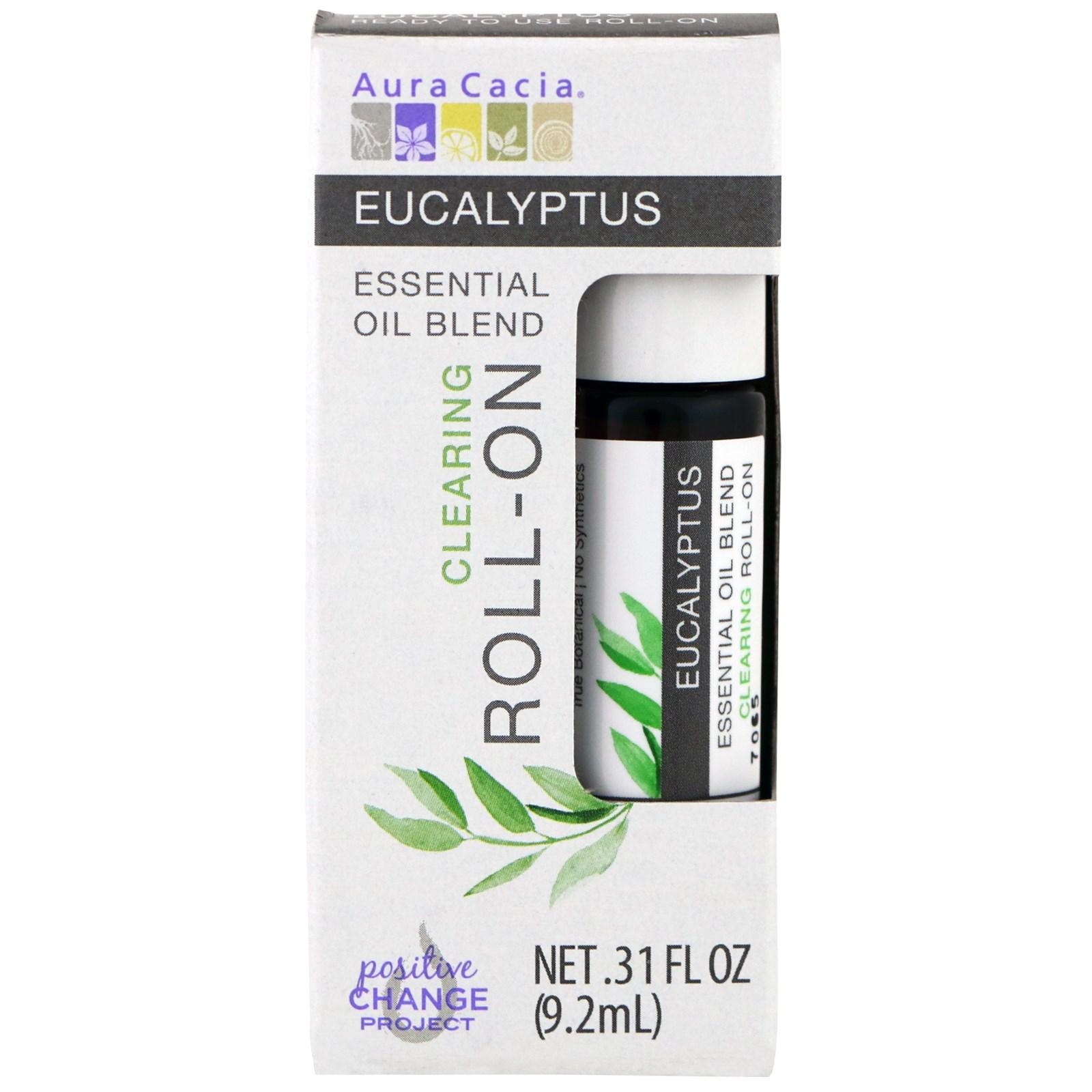 Aura Cacia, Смесь эфирного масла, очищающий роликовый аппликатор, эвкалипт, 0,31 жидкие унции (9,2 мл)