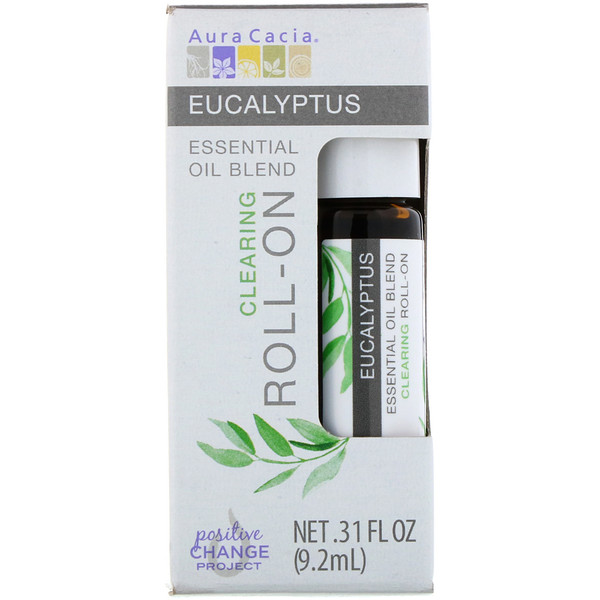 Aura Cacia, Essential Oil Blend, Clearing Roll-On, Eucalyptus, .31 fl oz (9.2 ml) (Discontinued Item)