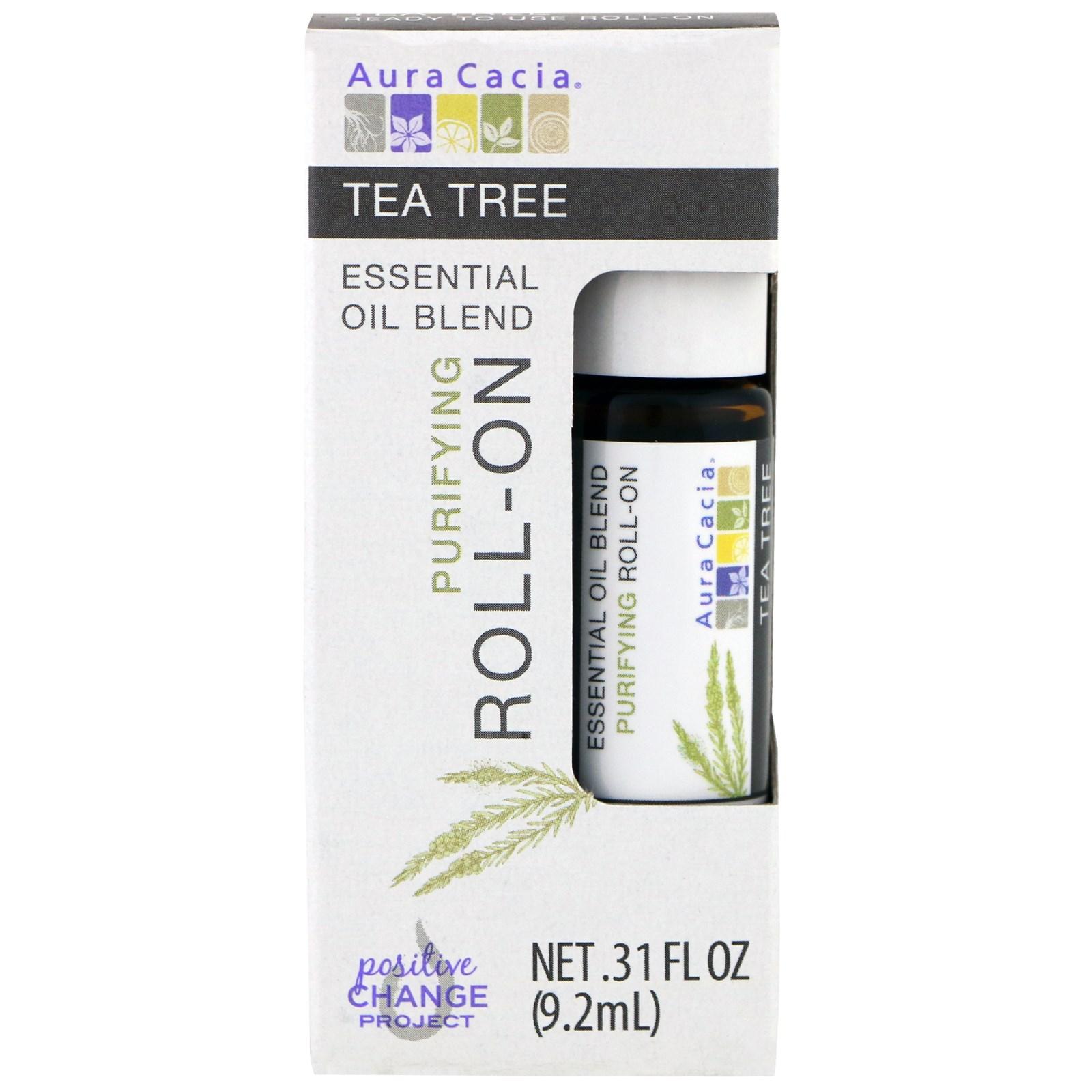 Aura Cacia, Смесь эфирного масла, очищающий роликовый аппликатор, чайное дерево, 0,31 жидкие унции (9,2 мл)