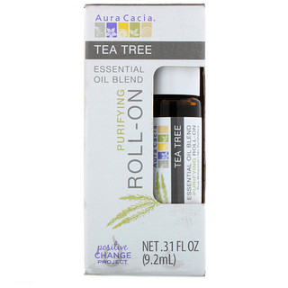 Aura Cacia, Essential Oil Blend, Purifying Roll-On, Tea Tree, .31 fl oz (9.2 ml)