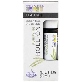 Aura Cacia, Essential Oil Blend, Purifying Roll-On, Tea Tree, .31 fl oz (9.2 ml)