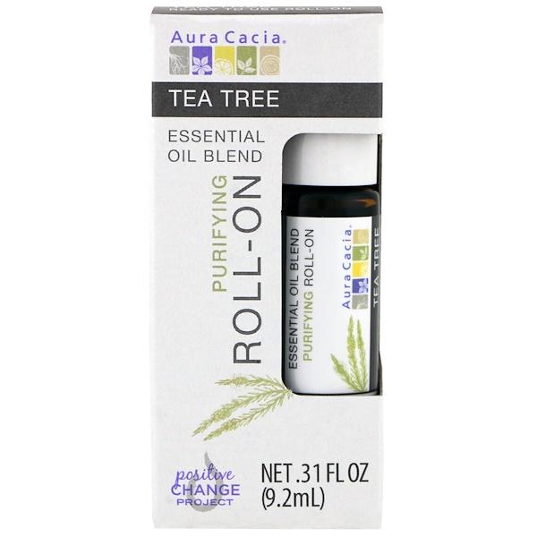 Aura Cacia, 混合精油,淨膚走珠,茶樹,0、31 液體盎司(9、2 毫升)