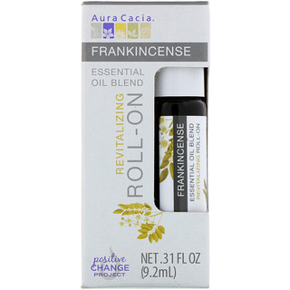 Aura Cacia, Essential Oil Blend, Revitalizing Roll-On, Frankincense, .31 fl oz (9.2 ml)
