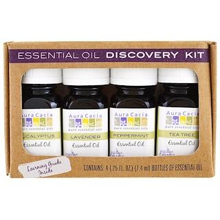 Aura Cacia, Kit de découverte d'huiles essentielles, 4 flacons, 7,4 ml (0,25 fl oz) chacun