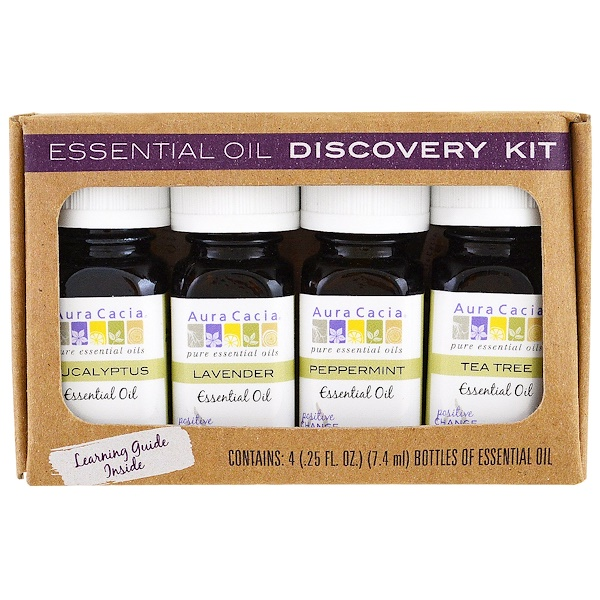 Aura Cacia, Essential Oil Discovery Kit, 4 Bottles, .25 fl oz (7.4 ml) Each