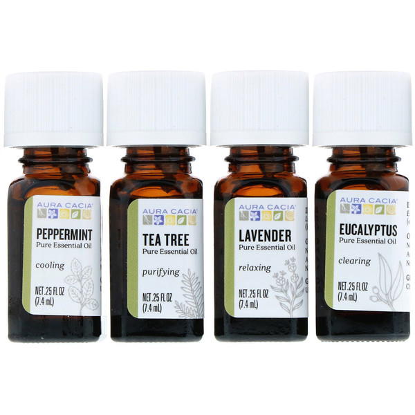 Aura Cacia, Discover Essential Oils Kit, 4 Bottles, .25 fl oz (7.4 ml) Each