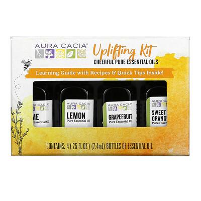 Aura Cacia Uplifting Kit, Cheerful Pure Essential Oils , 4 Bottles, 0.25 fl oz (7.4 ml) Each