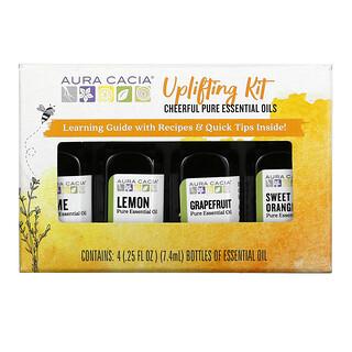 Aura Cacia, Uplifting Kit, Cheerful Pure Essential Oils, 4 Bottles, 0.25 fl oz (7.4 ml) Each