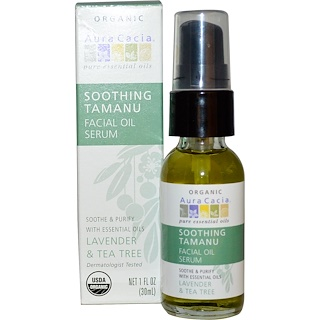 Aura Cacia, Soothing Tamanu Essentials Facial Oil Serum, Lavender & Tea Tree, 1 fl oz (30 ml)