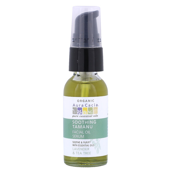 Organic Soothing Tamanu Facial Oil Serum, Lavender & Tea Tree, 1 fl oz (30 ml)