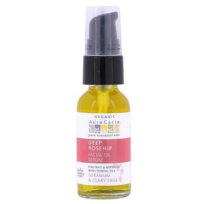 Купить Aura Cacia Органическая сыворотка для лица с эфирным маслом шиповника, герань и шалфей, 1 жидкая унция (30 мл)