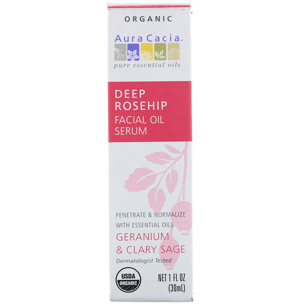 Organic Deep Rosehip Essentials Facial Oil Serum, Geranium & Clary Sage, 1 fl oz (30 ml)